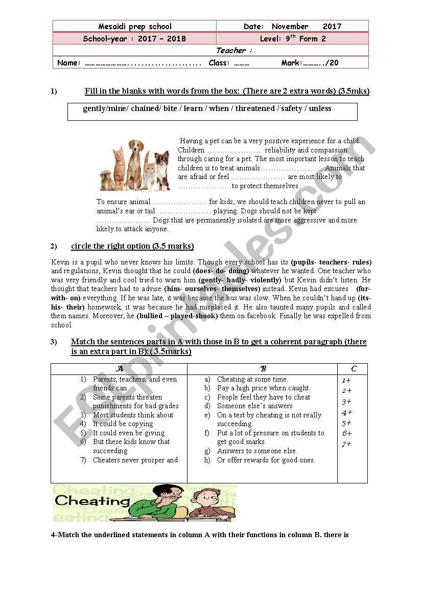 mid sem 1 test n 2 worksheet