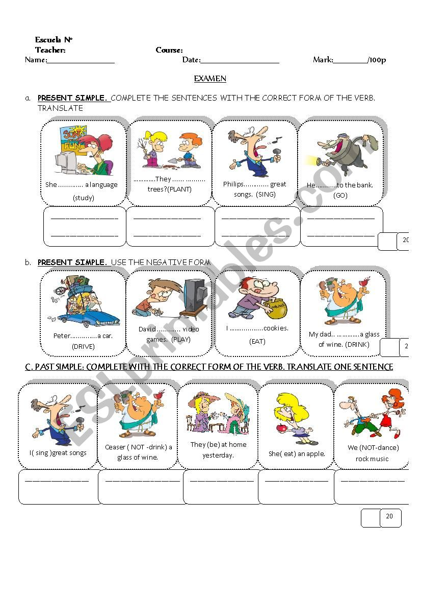 exam about different tenses worksheet