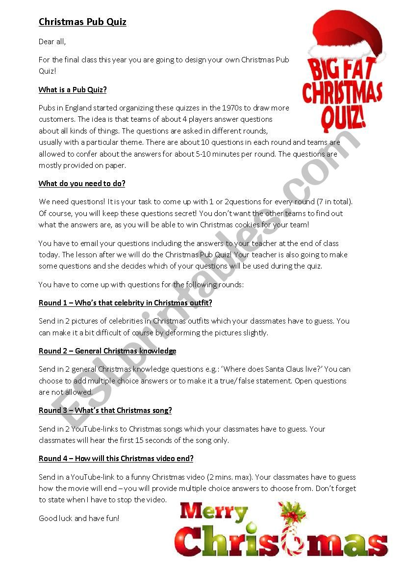 Christmas Pub Quiz worksheet