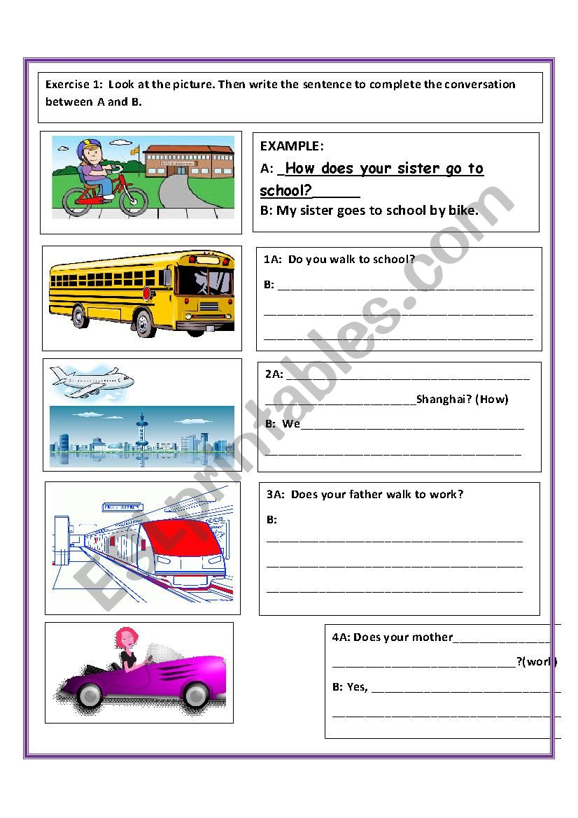 MEANS OF TRANSPORTATION -- BEGINNER WORKSHEET