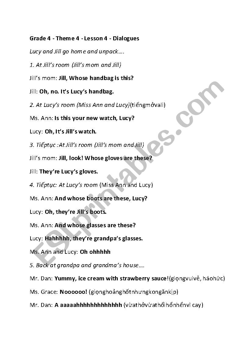clothes dialogue whose handbag is this it s my handbag grade 4 esl worksheet by helenle75. Black Bedroom Furniture Sets. Home Design Ideas