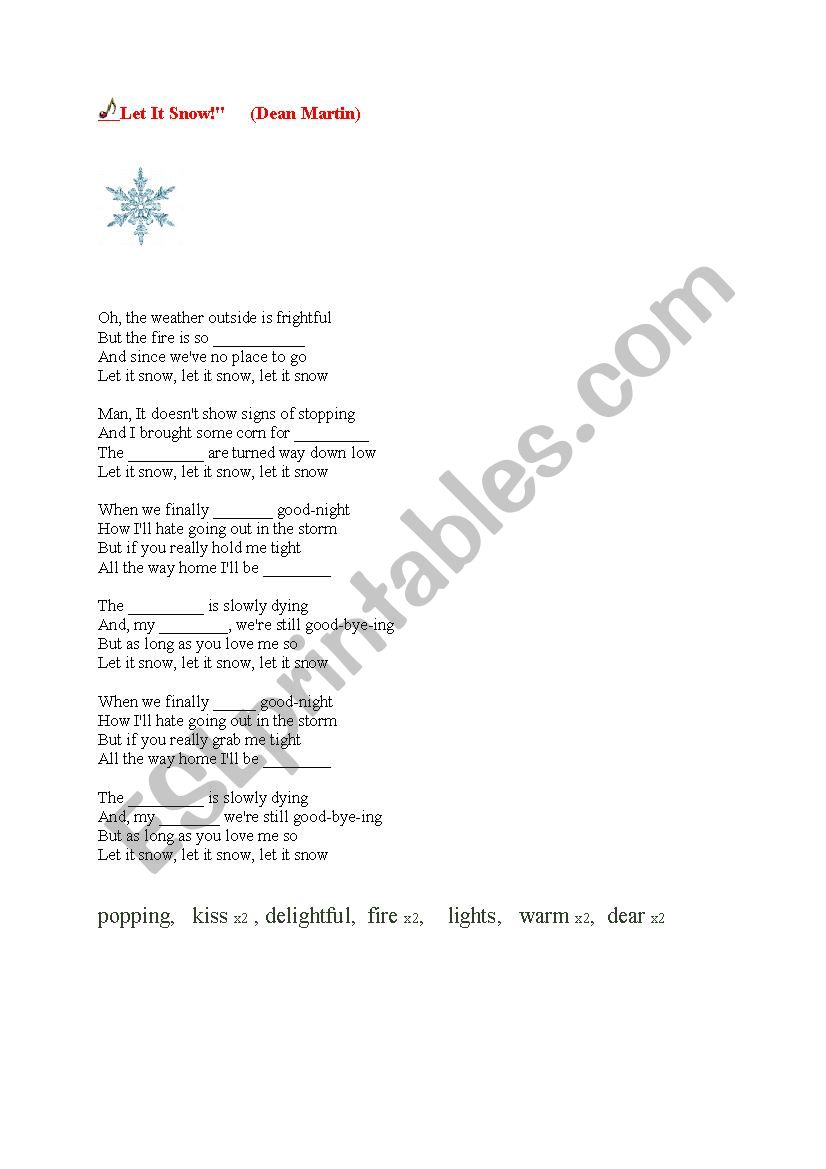 Let it snow - Christmas song - ESL worksheet by amber82