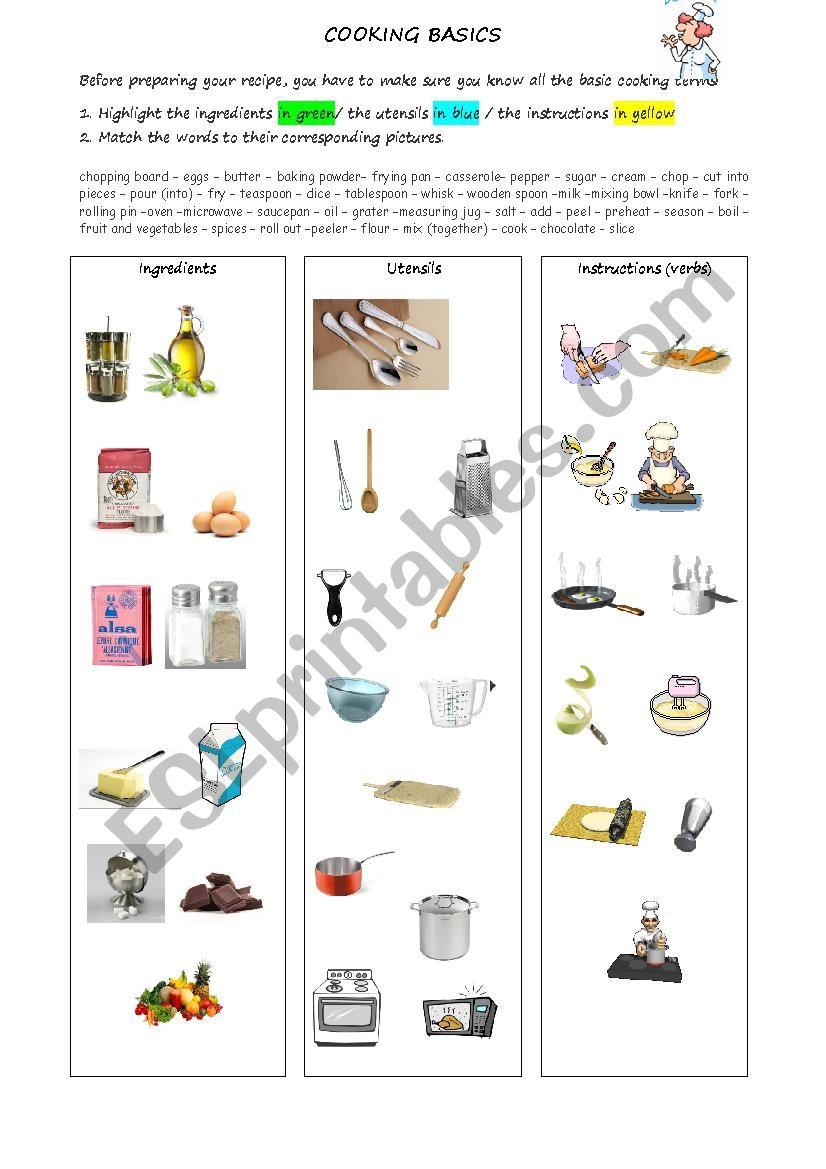 Cooking basics worksheet