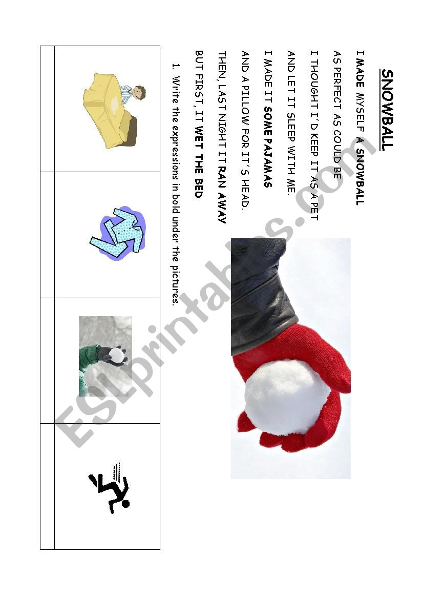 Snowball Poem Esl Worksheet By Chigoli