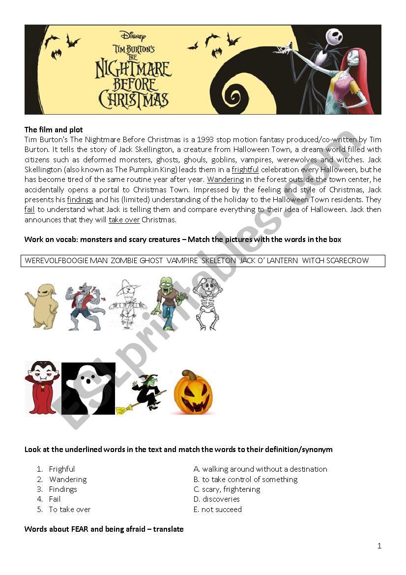 The Nightmare Before Christmas - ESL worksheet by enricagugliotta