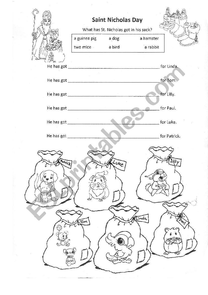 Saint Nicholas Day pets worksheet