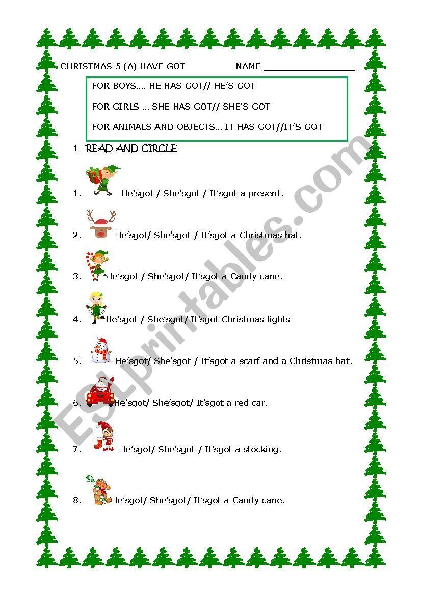 CHRISTMAS HAVE GOT (1) worksheet