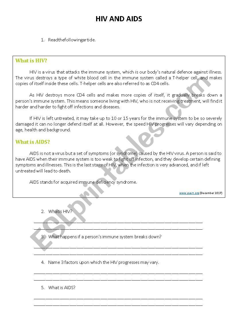 HIV AND AIDS WORKSHEET - ESL worksheet by manuelabarbosa