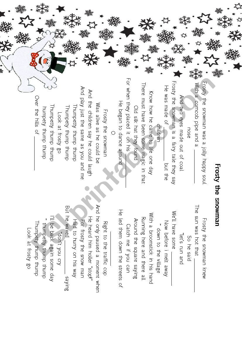 Frosty the snowman song worksheet