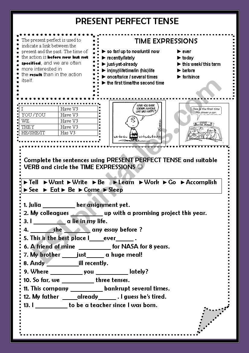 THE PRESENT PERFECT TENSE WORKSHEET GRAMMAR GUIDE AND EXERCISE