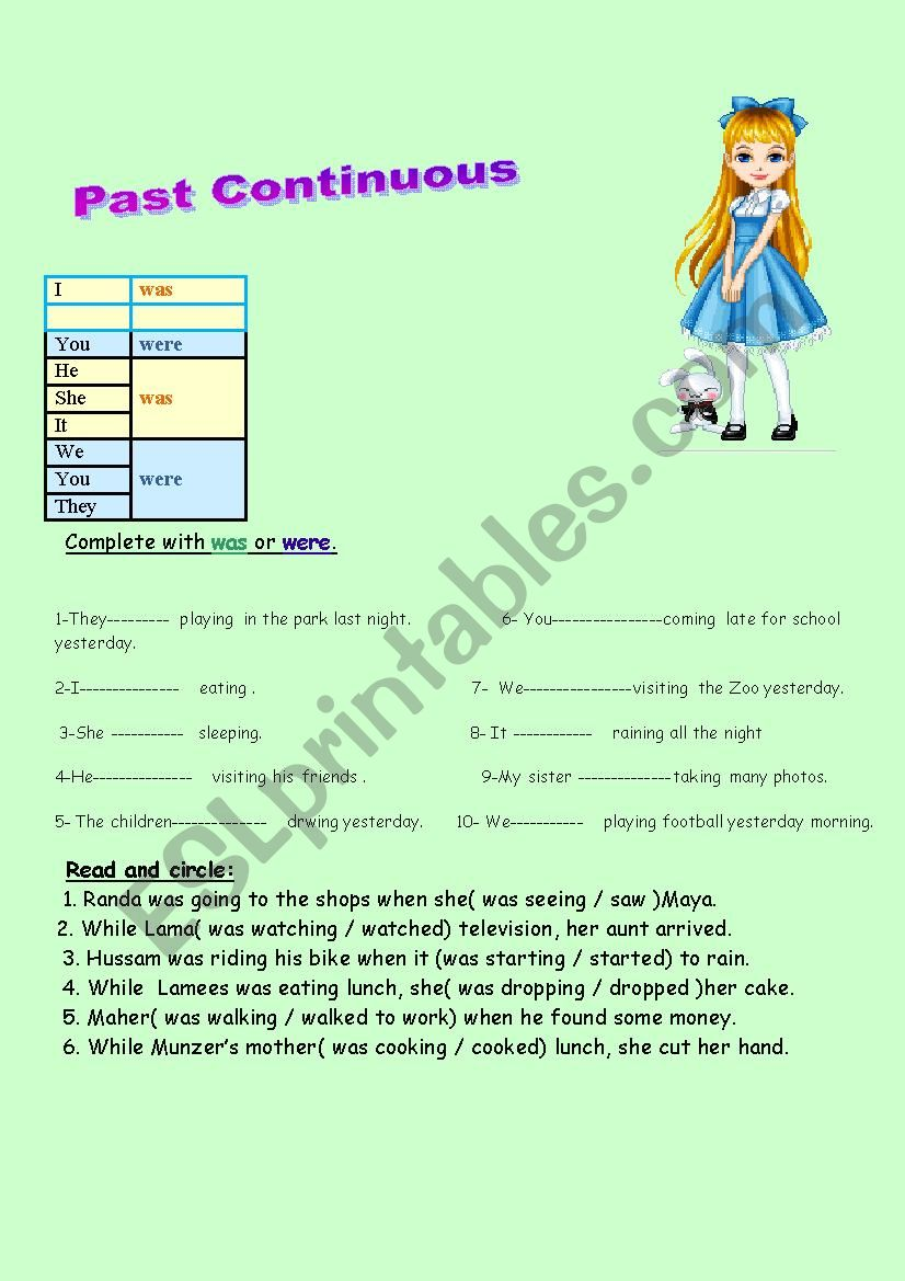The past continuous tense worksheet