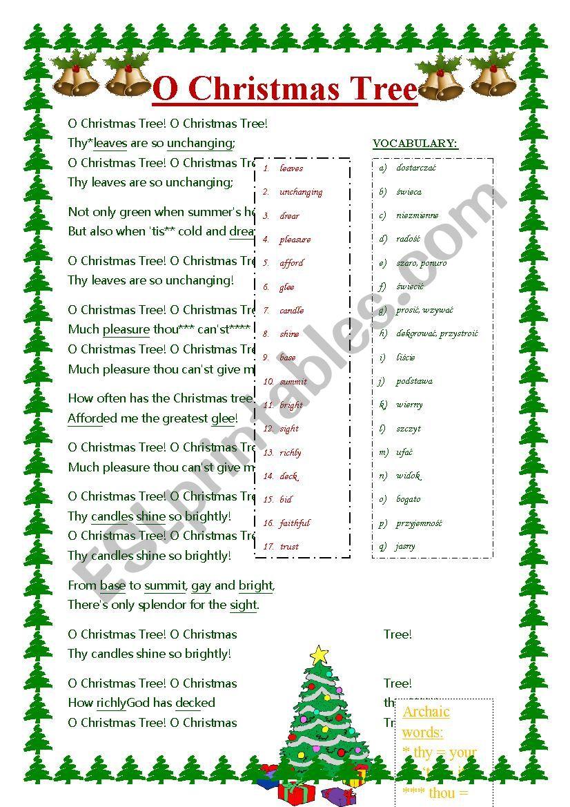 O Christmas Tree (O Tannenbaum) SONG - ESL worksheet by paoldak