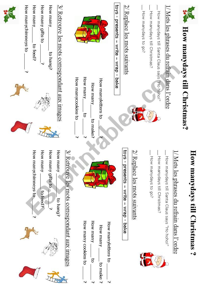 How many days till Christmas? - Song lyrics - ESL worksheet by LydiaJenn