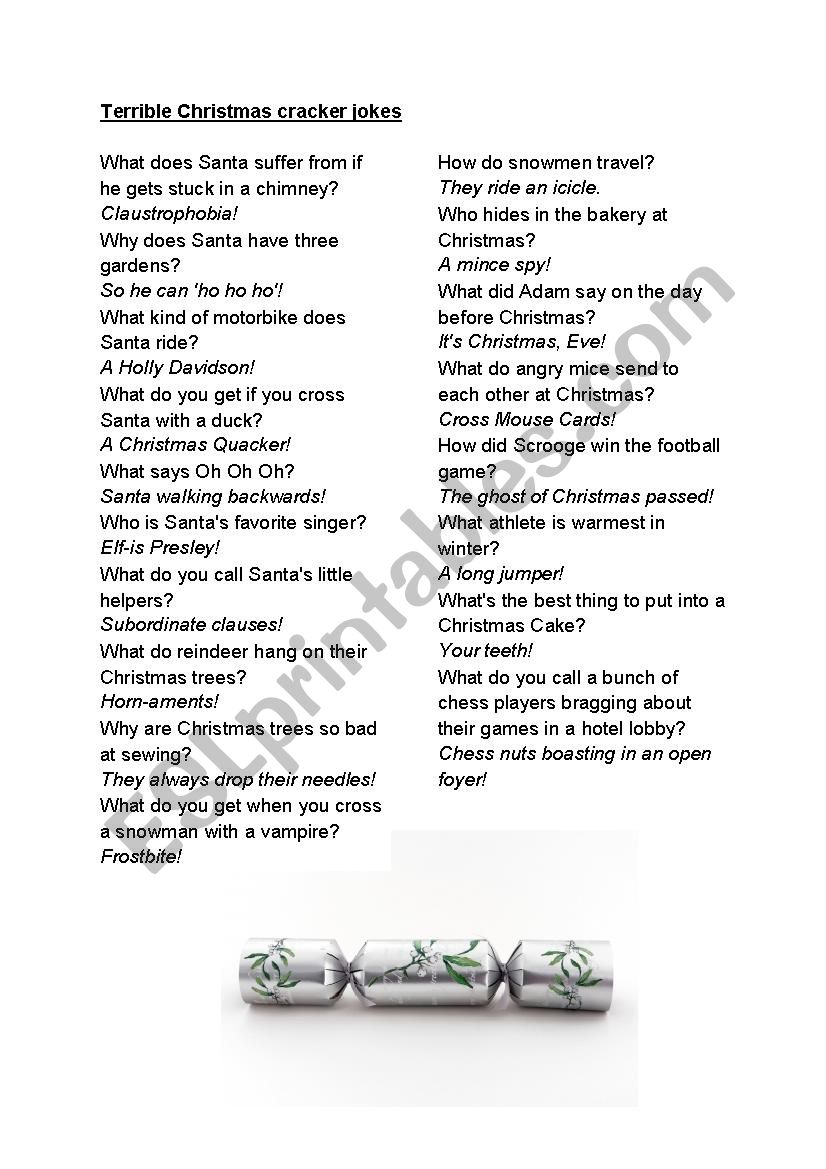 Christmas Cracker Jokes.Christmas Cracker Jokes Esl Worksheet By Frausue