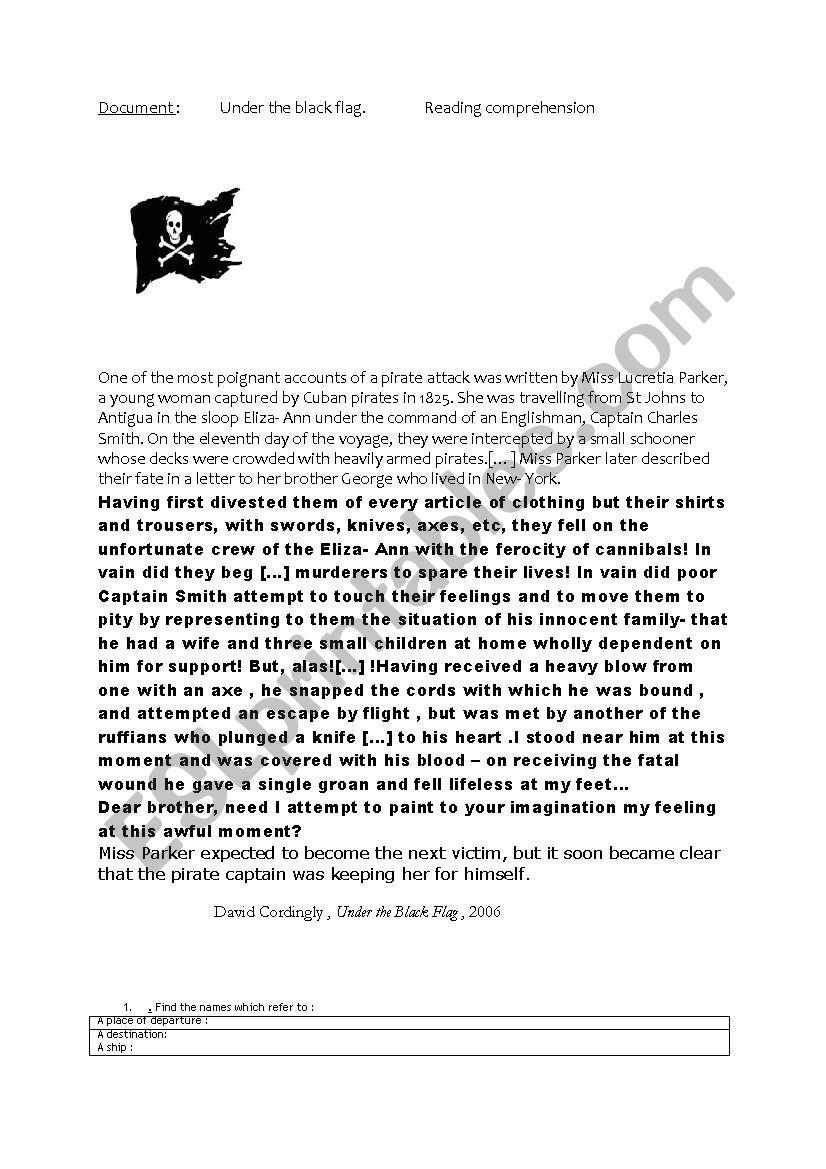 Under the black flag worksheet