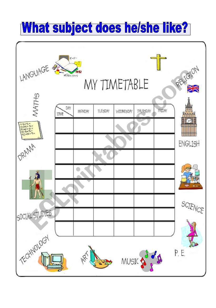 My timetable worksheet