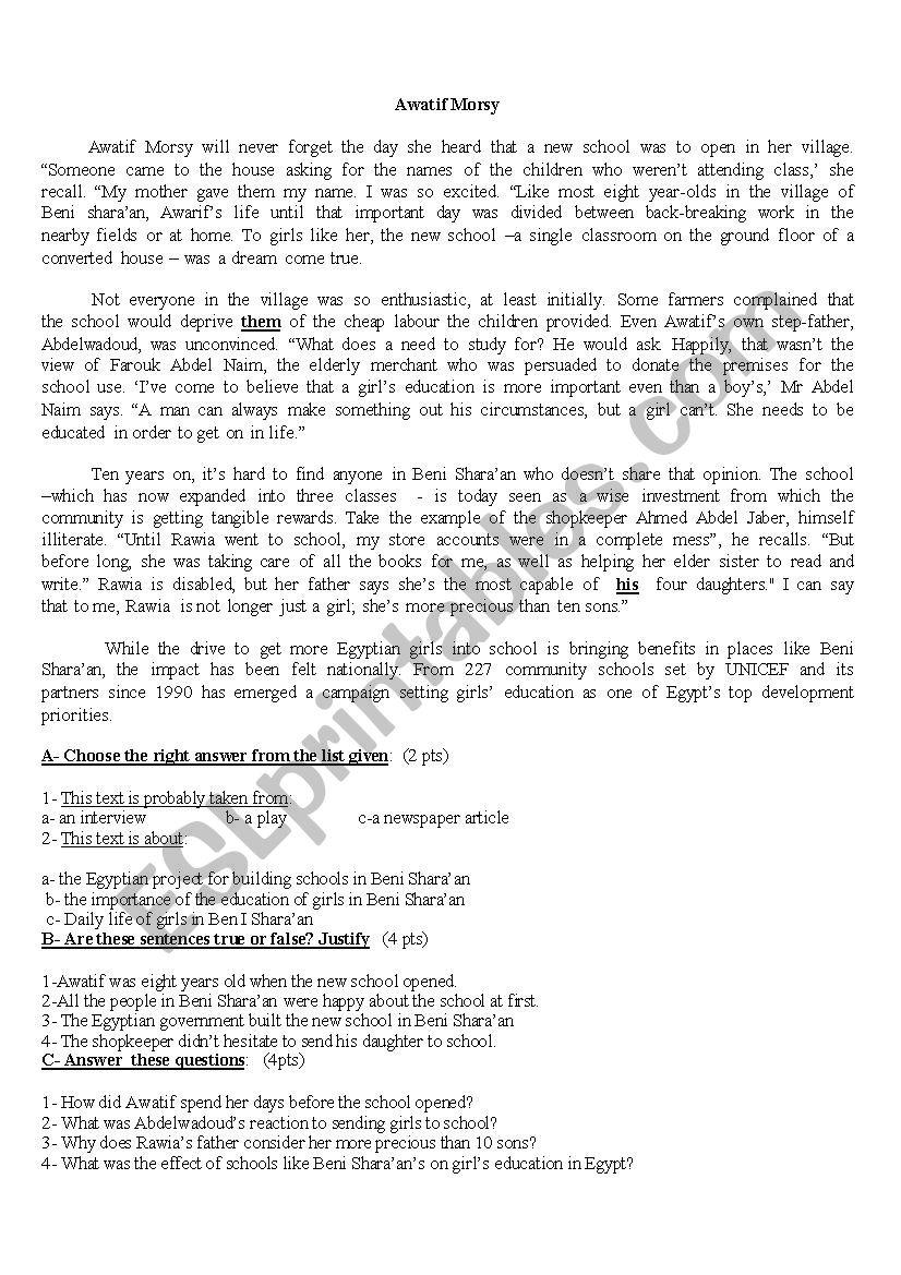 awatif morsy - ESL worksheet by mohammed1974