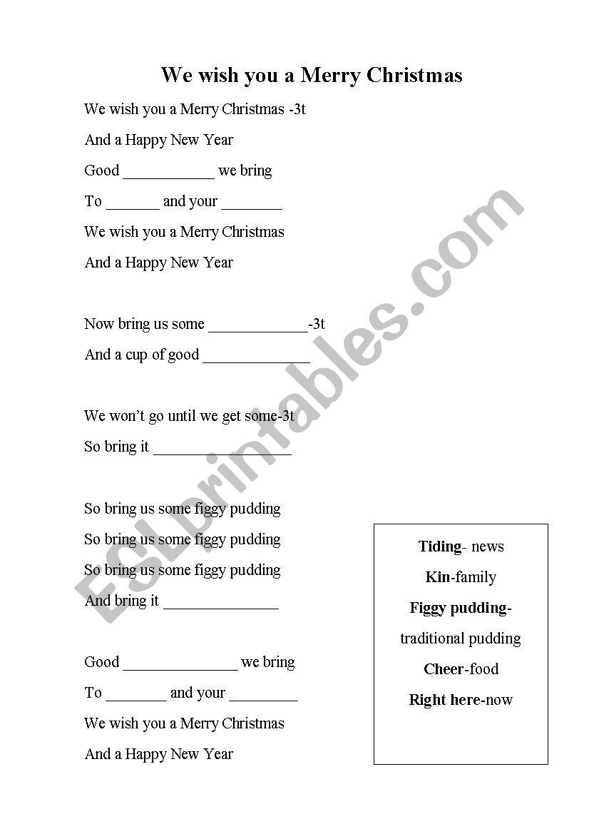 Merry Christmas activities worksheet