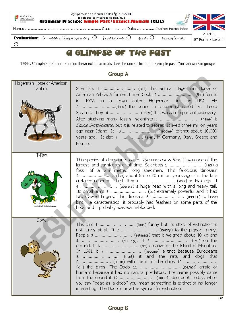 Past Simple - Extinct Animals worksheet
