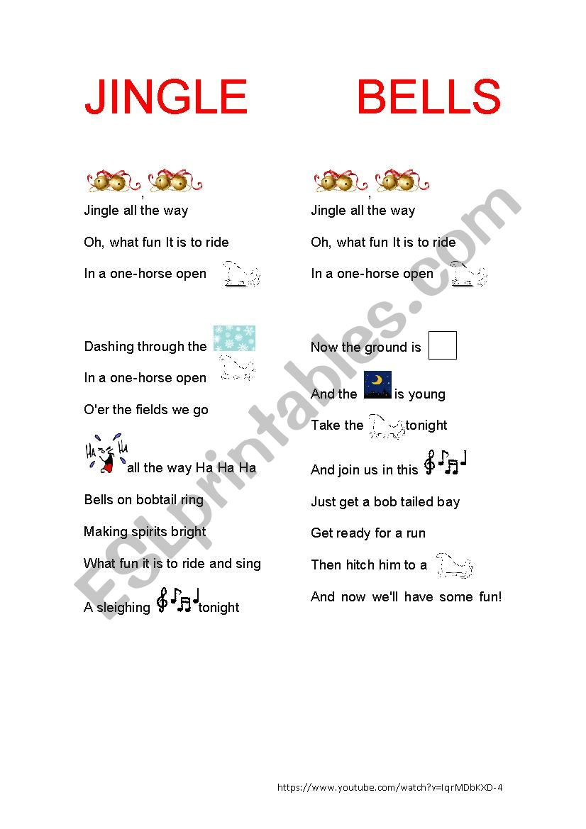 Jingle Bells with pictures worksheet
