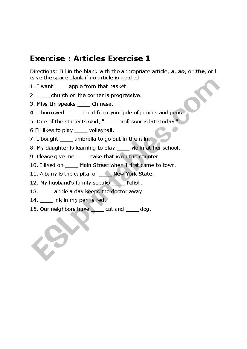 Article Exercise With Answers Esl Worksheet By Legend30003