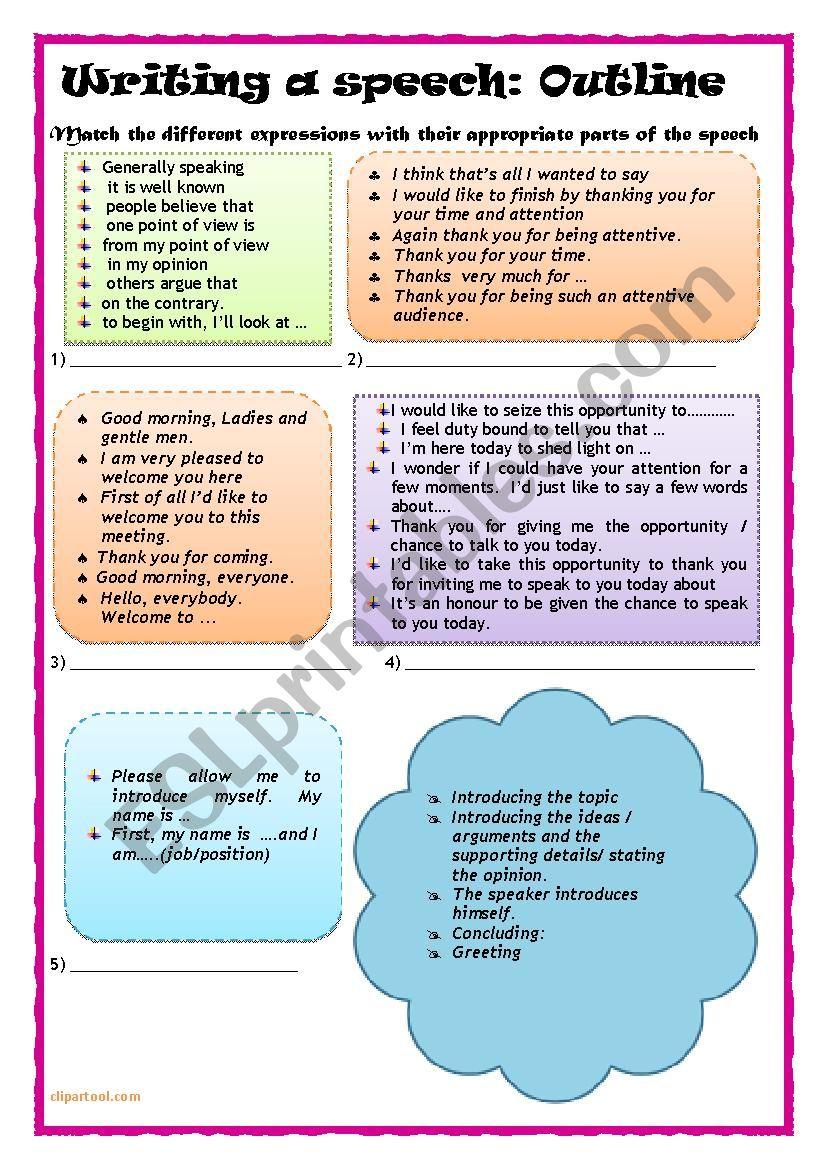 How to write a speech - ESL worksheet by chebbiaida26