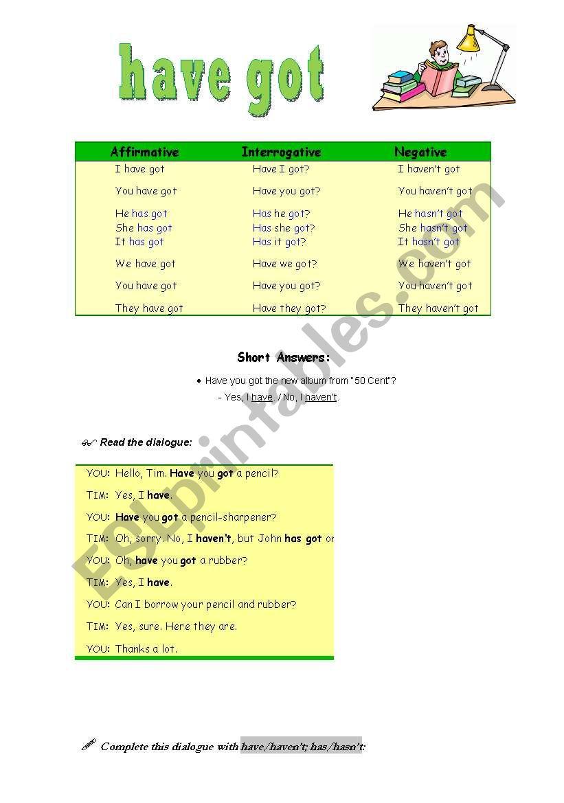 have got- 5/8/08 worksheet