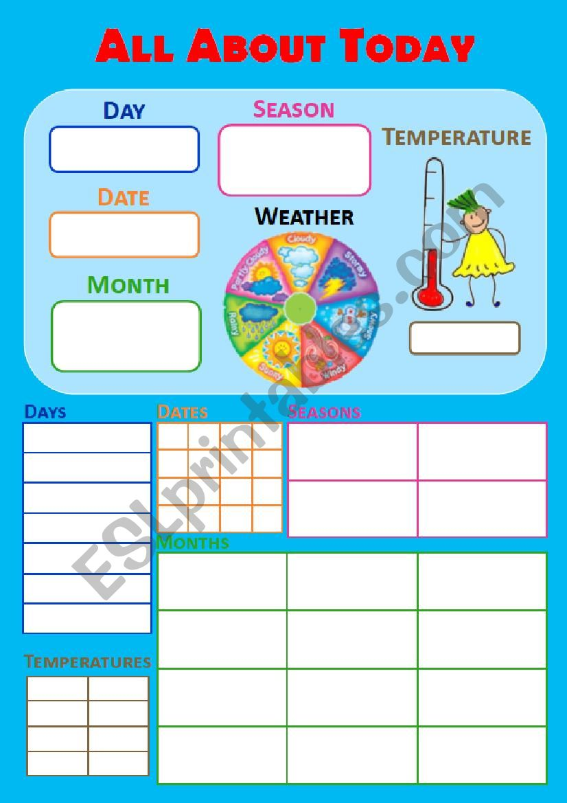 All about today (board) worksheet