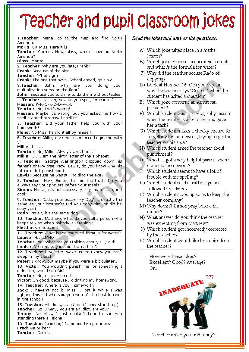 School jokes worksheet