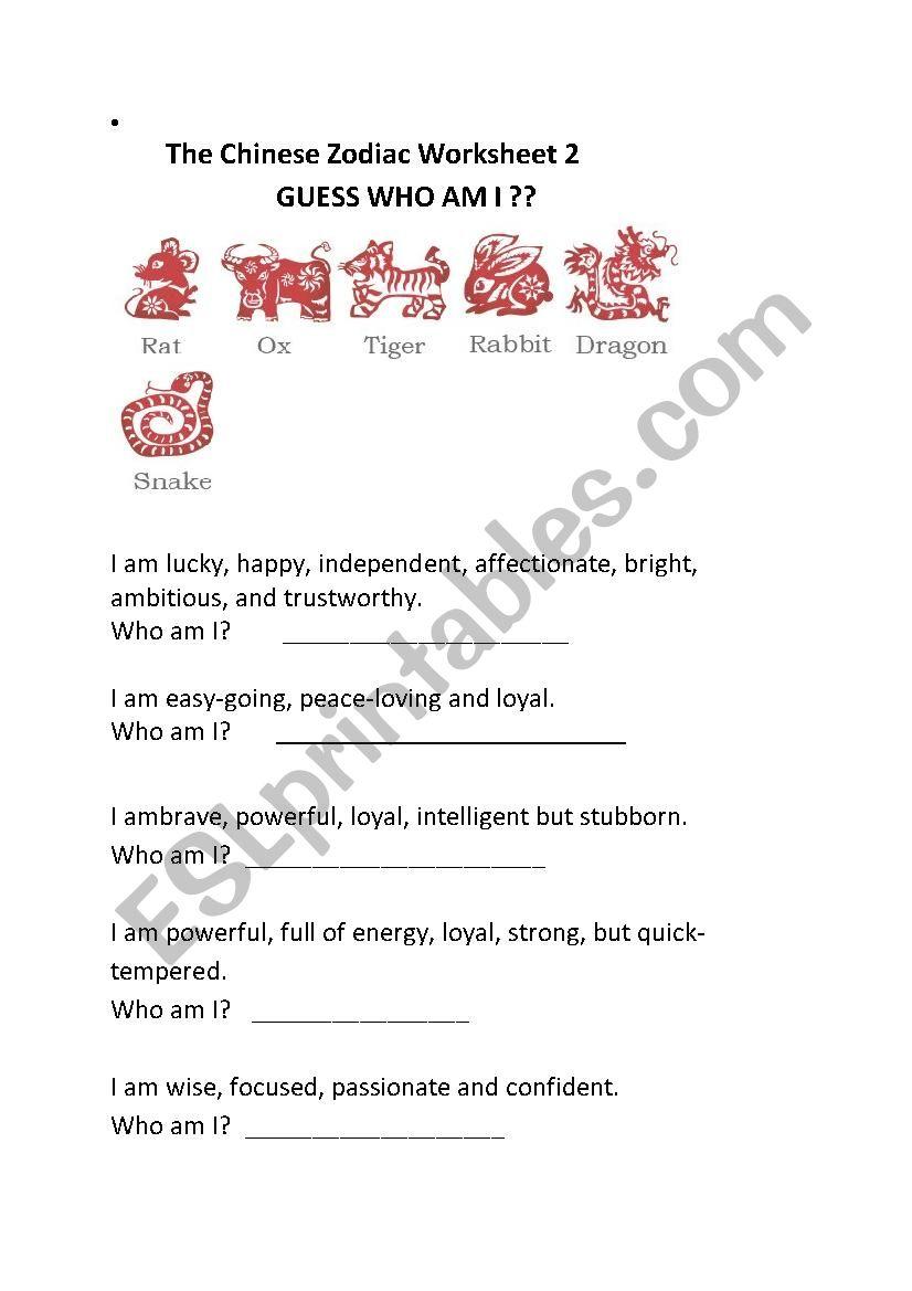 Chinese Zodiac - Who am I? worksheet