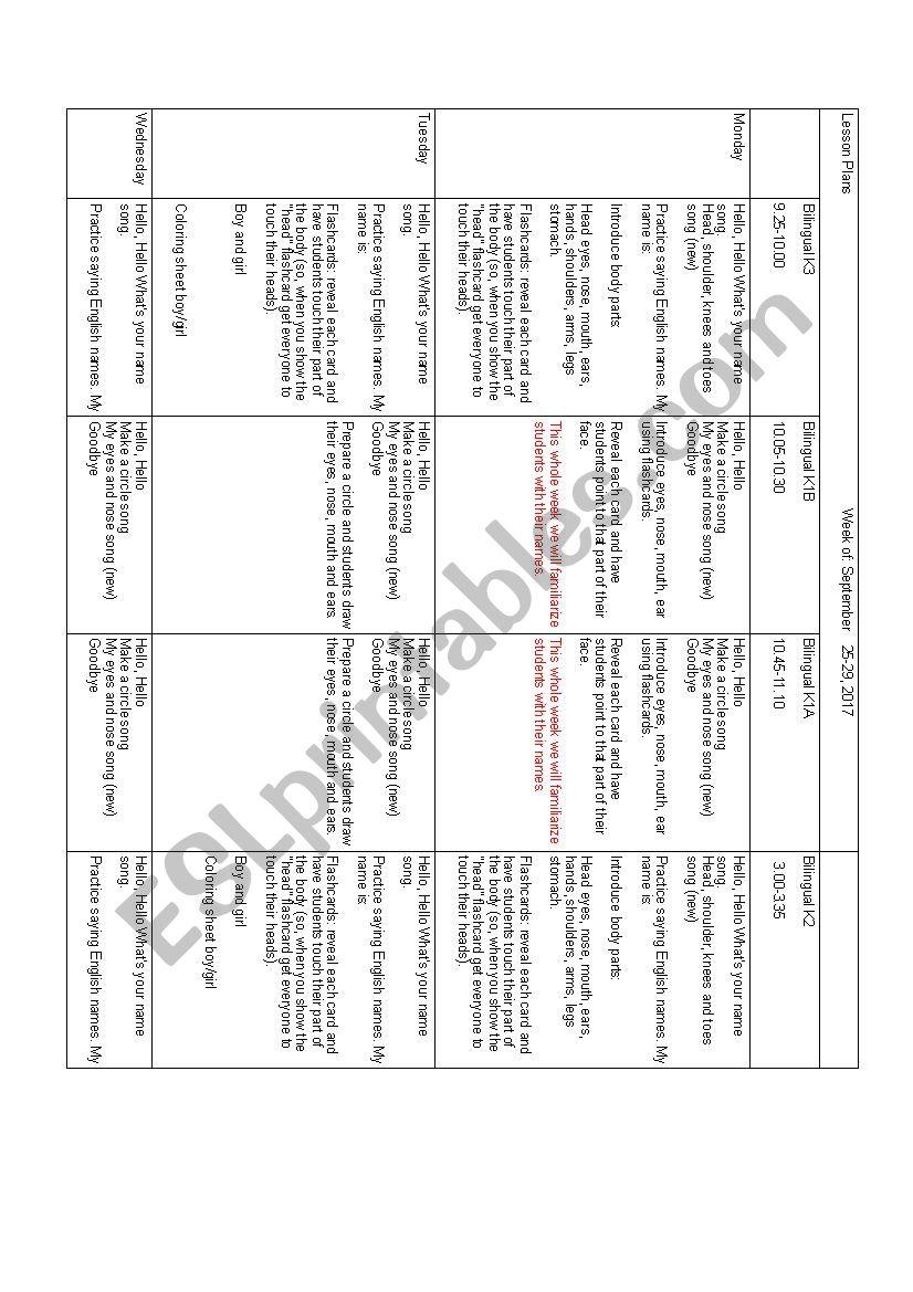 Lesson plan ESL worksheet