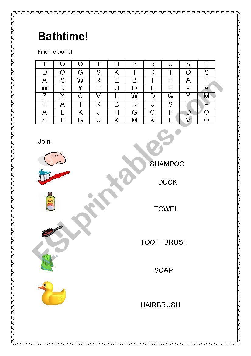 Bath time worksheet
