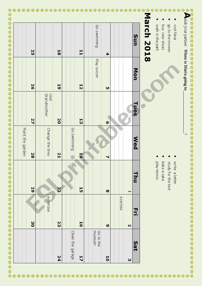 Calendar pairwork worksheet