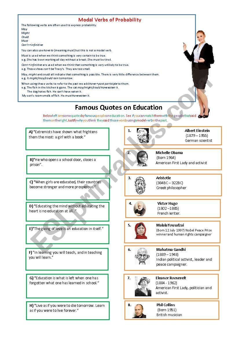 Quotes about Education worksheet