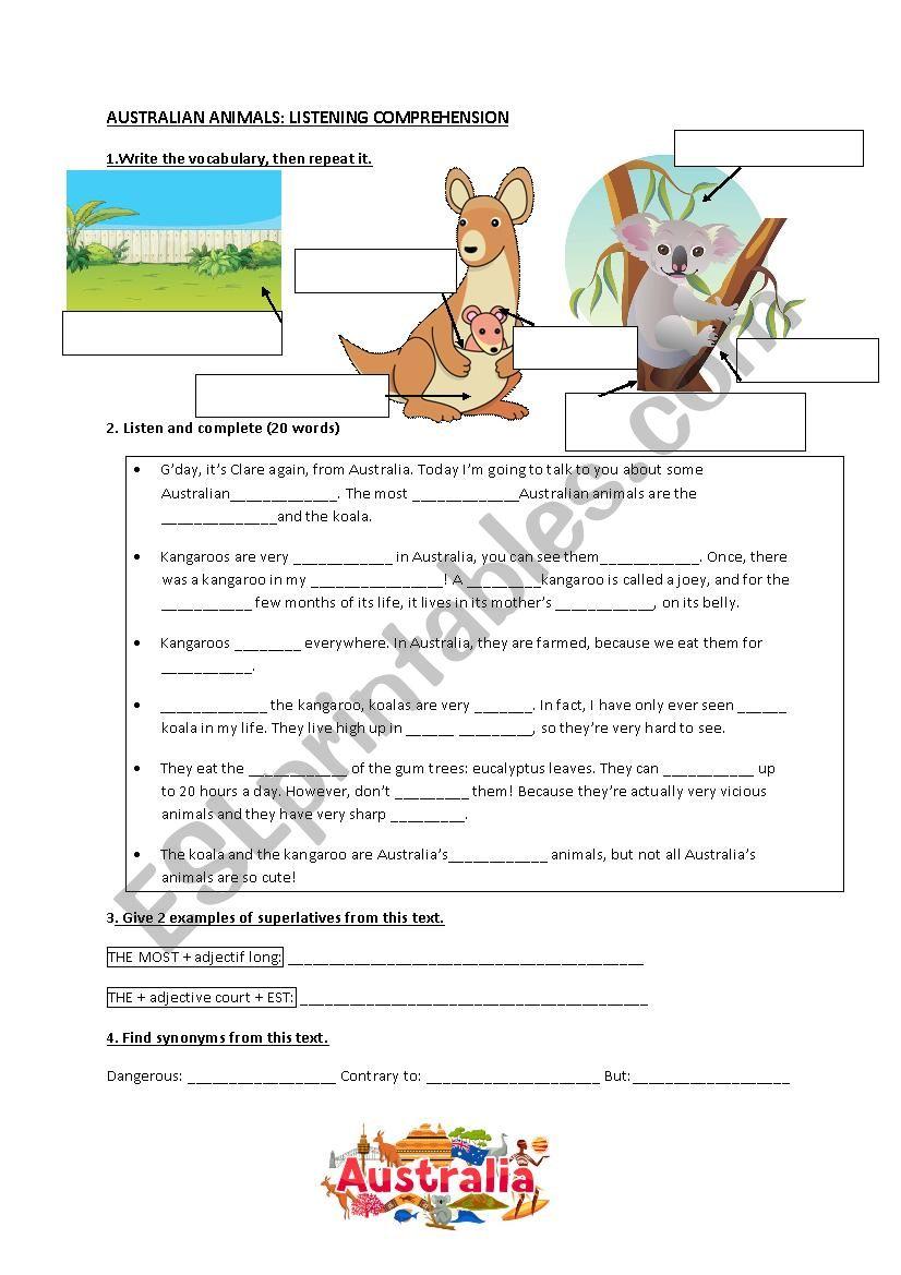 Australian animals listening  worksheet