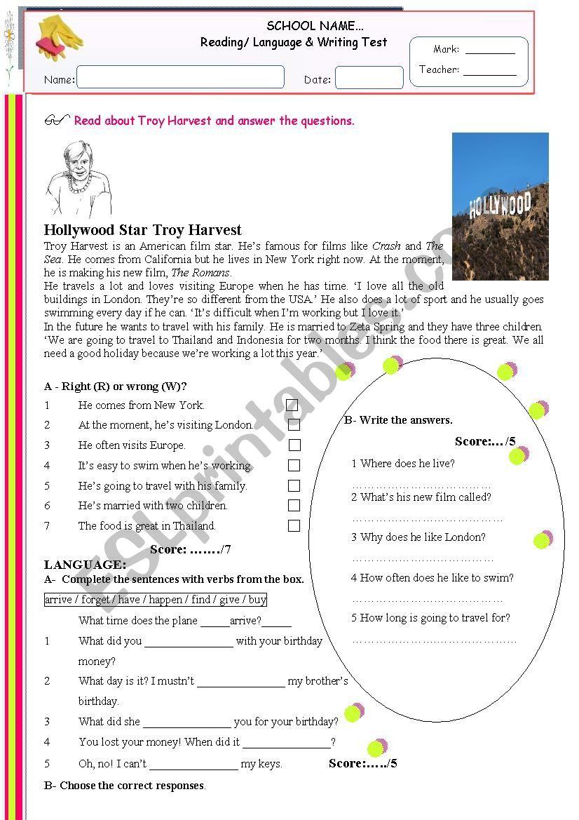 Reading, Language and Writing Test