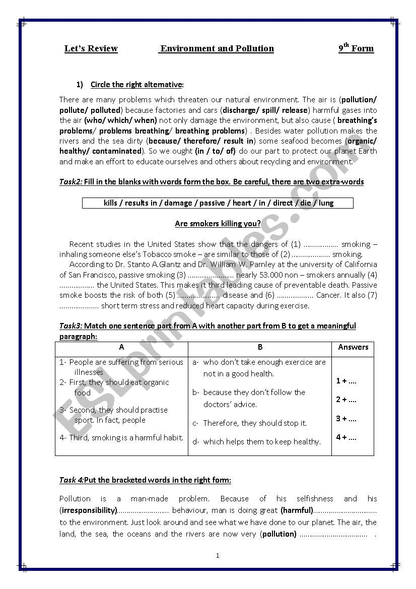 Pollution Review worksheet