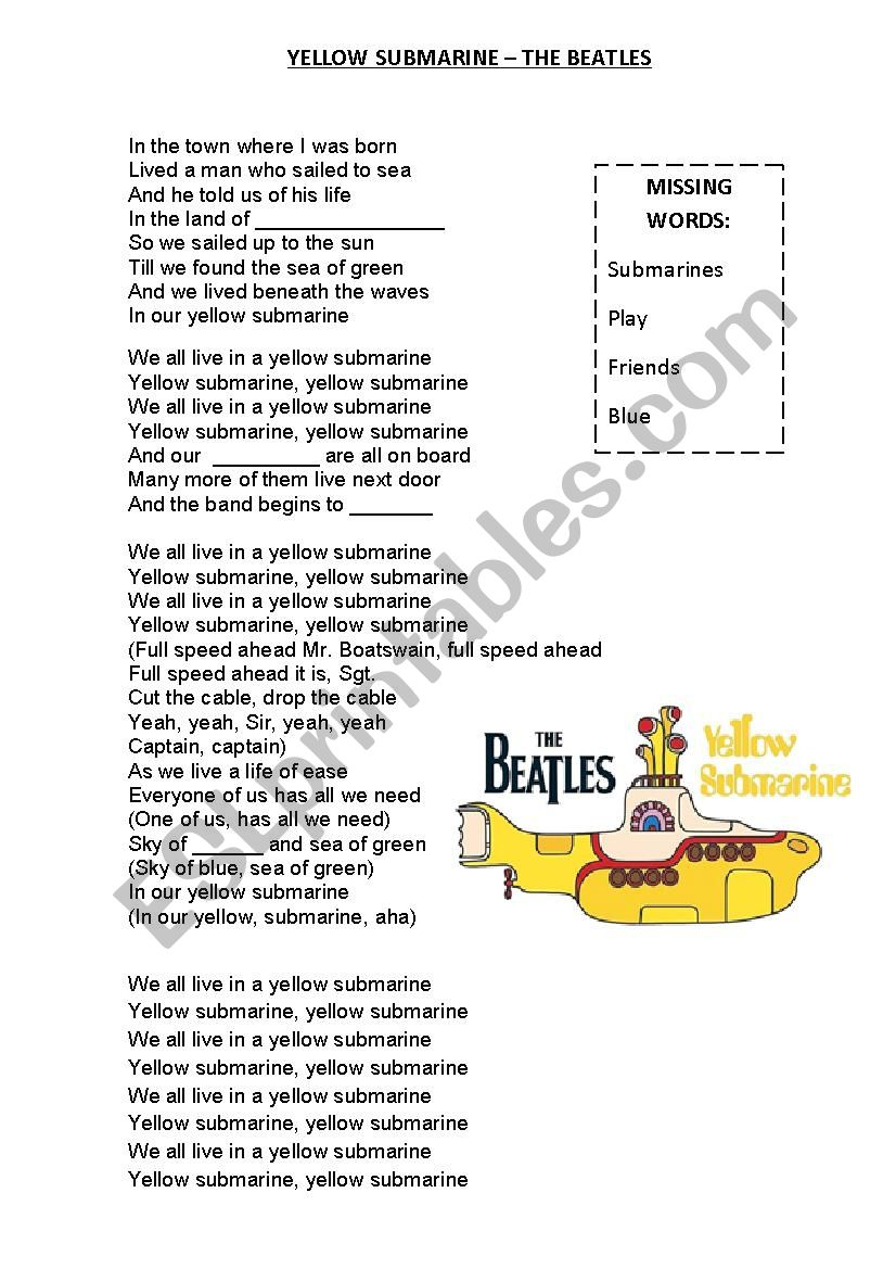 YELLOW SUBMARINE SONG - ESL worksheet by carmenteacher89