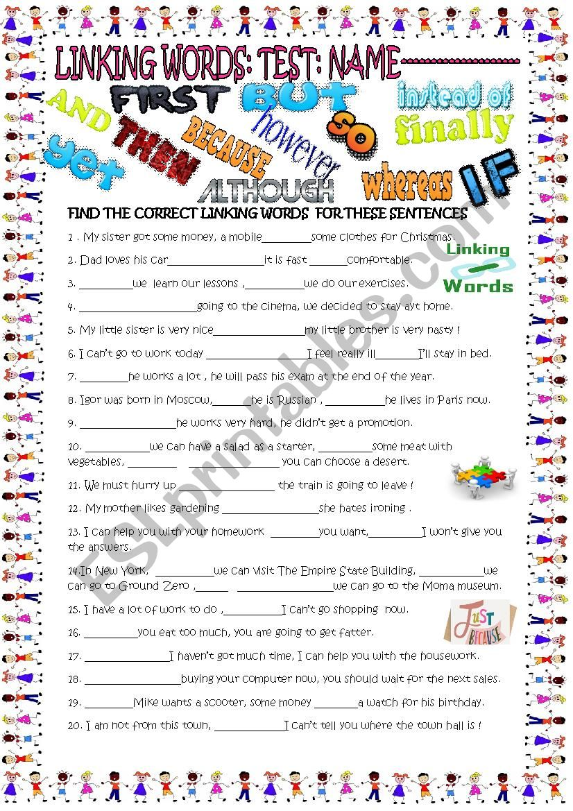linking words test with key worksheet