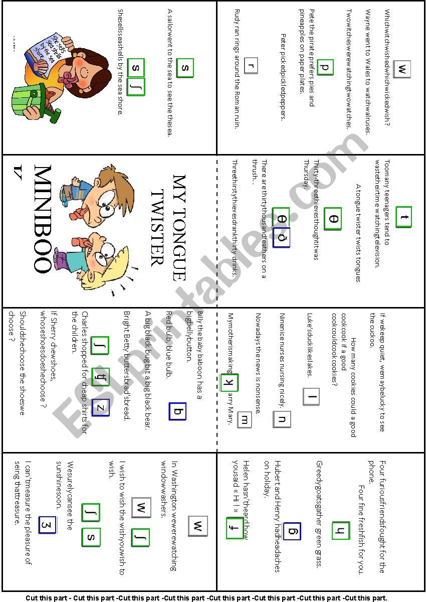 Tongue twitter minibook worksheet