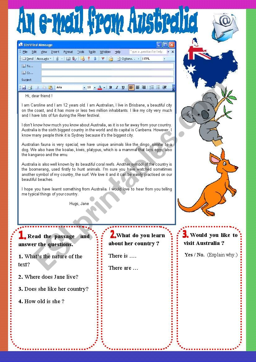 An e-mail from Australia. worksheet
