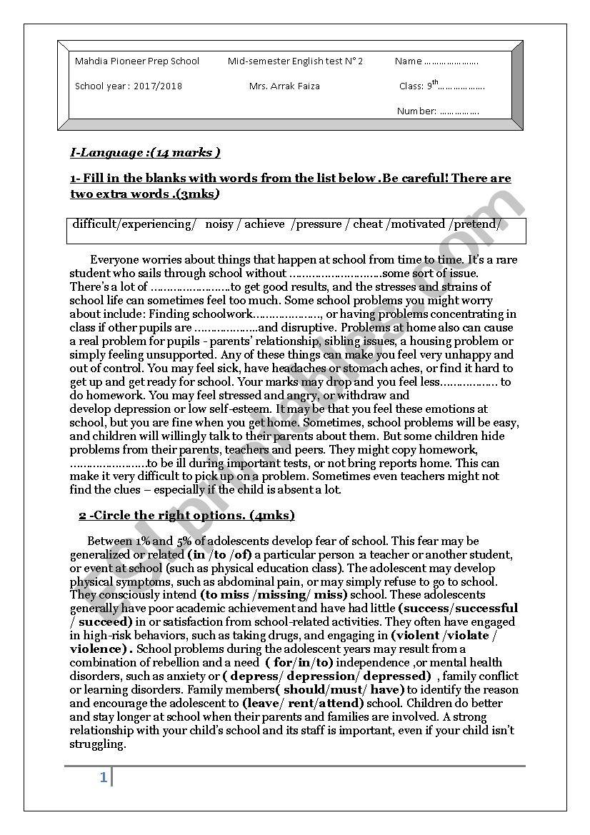 mid-semester test worksheet
