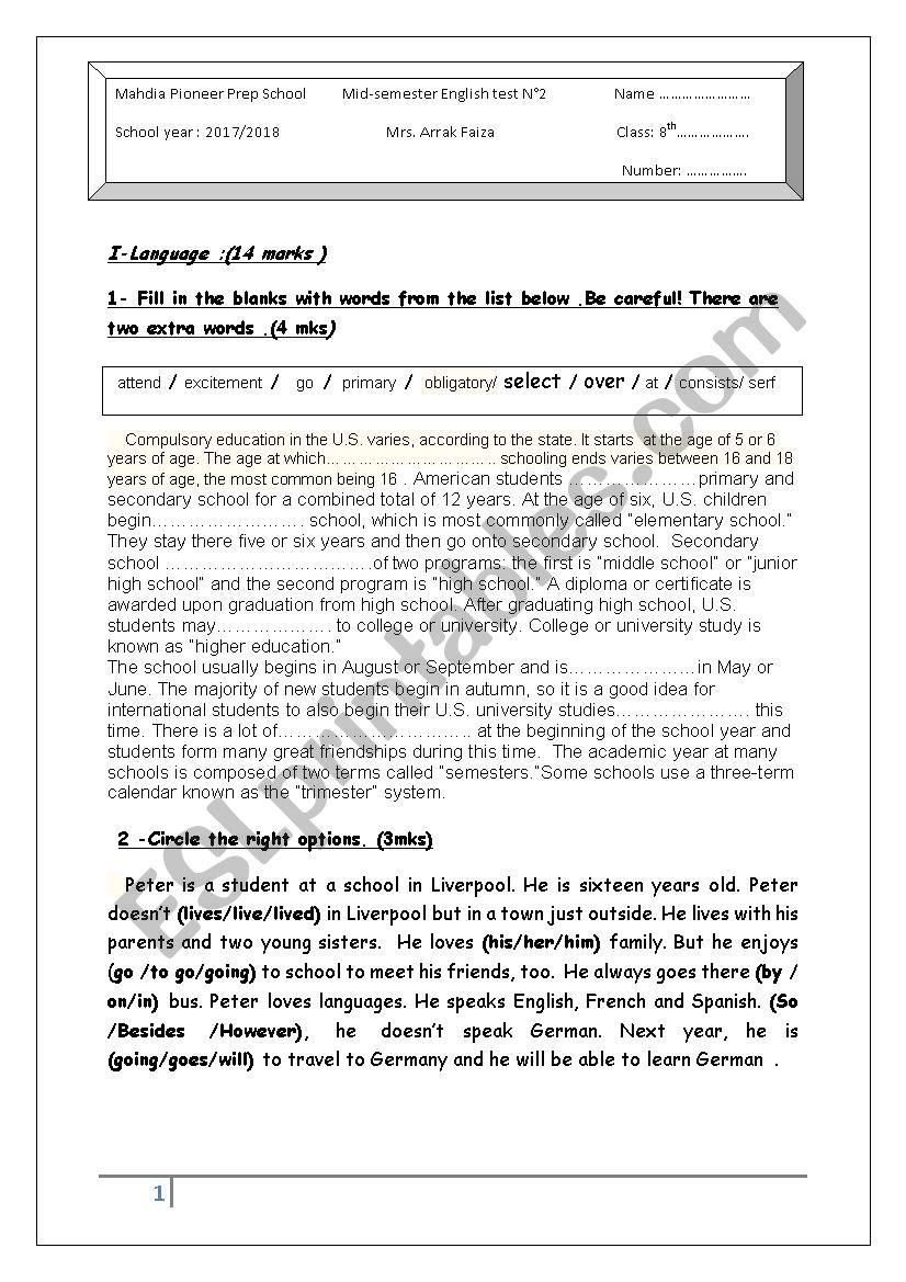 mid semester test2 worksheet