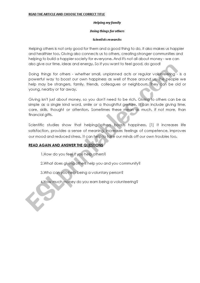 - English Worksheets: Reading Comprehension Skill