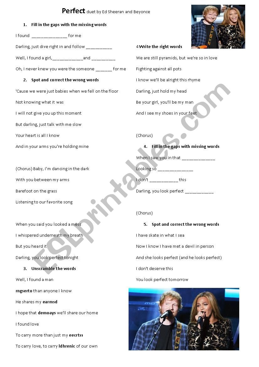 A Song Perfect worksheet