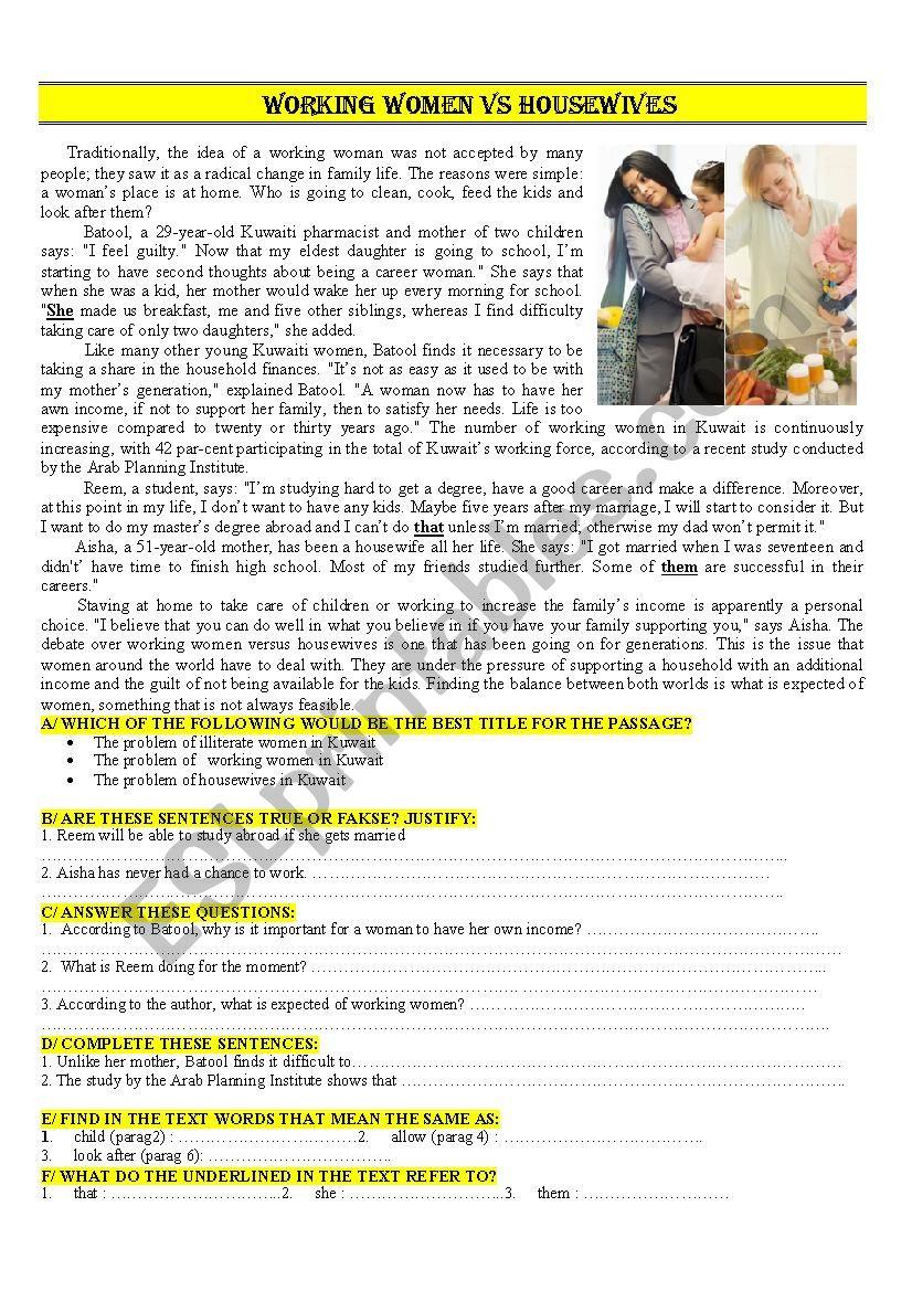 working women or housewives worksheet