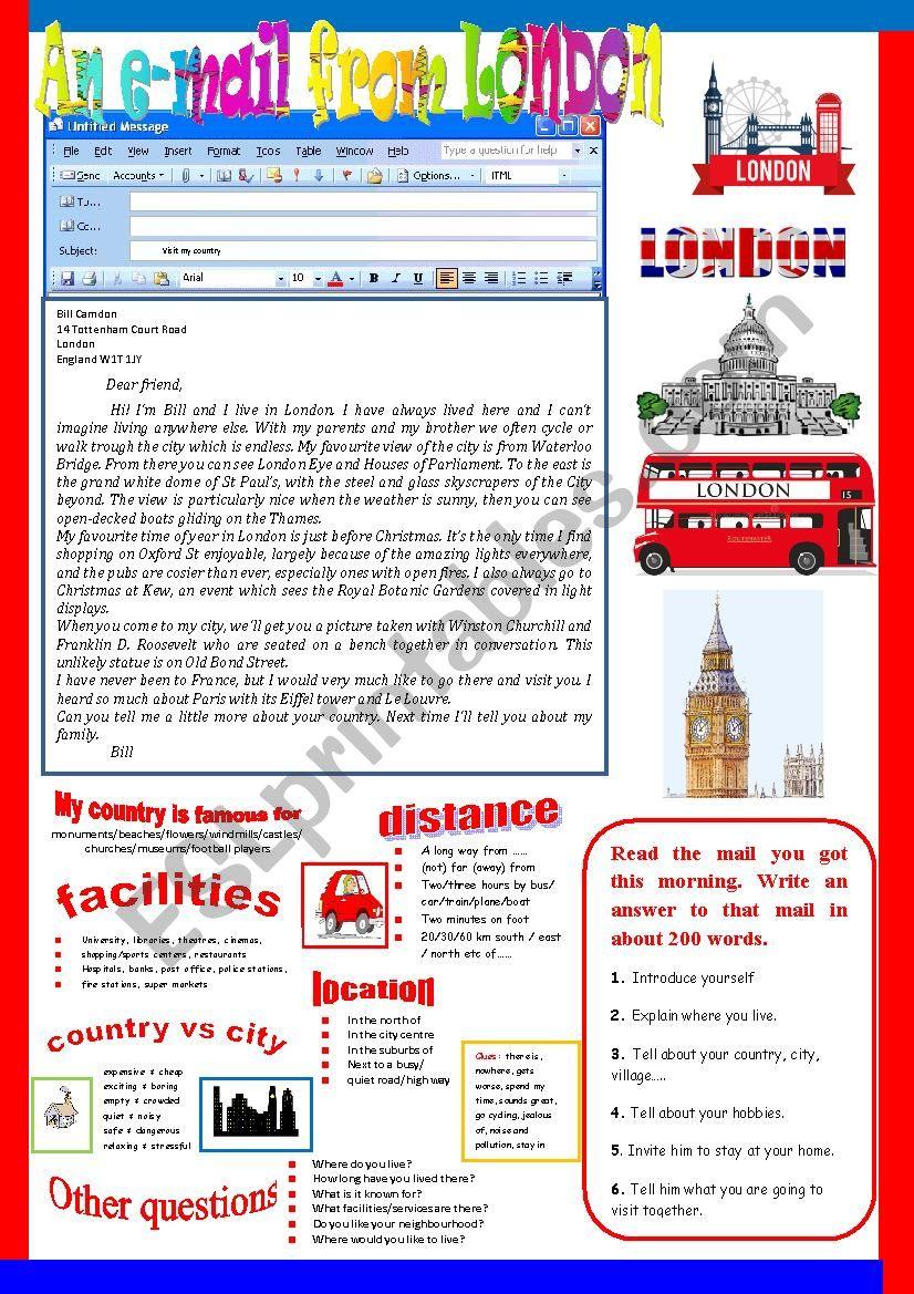 An e-mail from London. Semi-guided writing