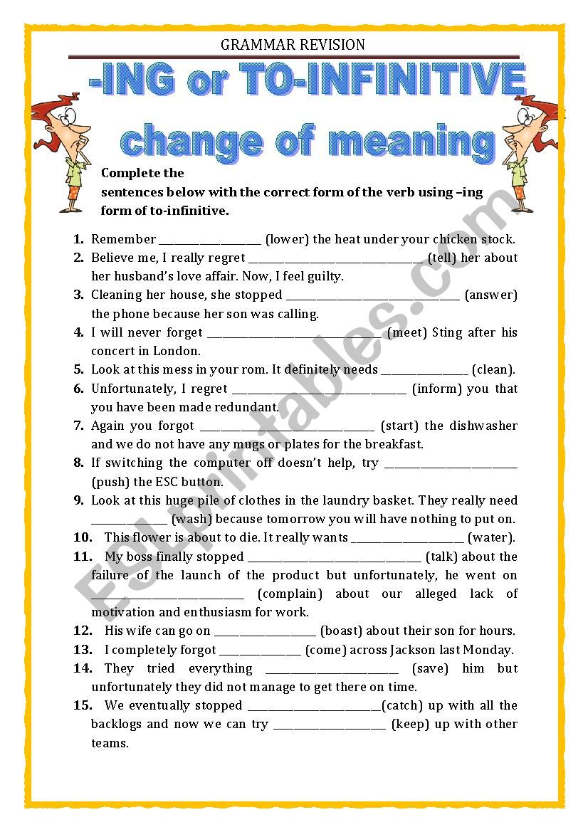GRAMMAR REVISION - ING or TO INFINITIVE (part 2)