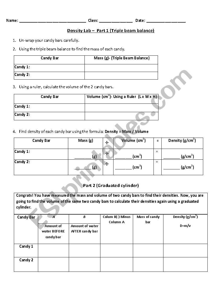 image regarding Triple Beam Balance Worksheet Printable named Measuring Density of Chocolates Lab - ESL worksheet by means of