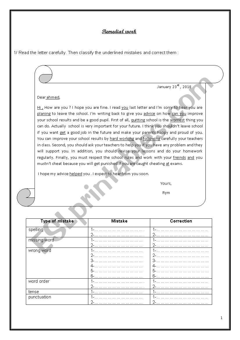 Remedial work 9th form worksheet